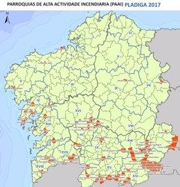 Mapa Incendios Galicia 2017.Ocho Parroquias Gallegas Acumulan Mas De 600 Incendios