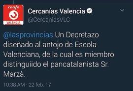 """Compromís denuncia que el Gobierno """"lleva cinco meses ocultando"""" la identidad del responsable del tuit contra Marzà"""