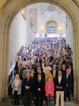 Acto de unos alcaldes en apoyo al referéndum del 1-O