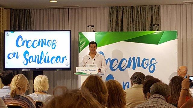 Juanma Moreno participa en el congreso del PP en Sanlúcar