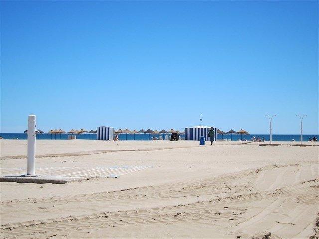 Imagen de archivo de la playa junto al paseo marítmo de València