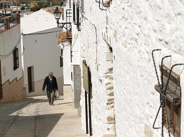 Alumbrado, hombre, pueblo, Málaga, poblado