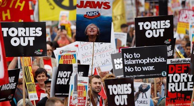 Manifestación contra los recortes en Londres
