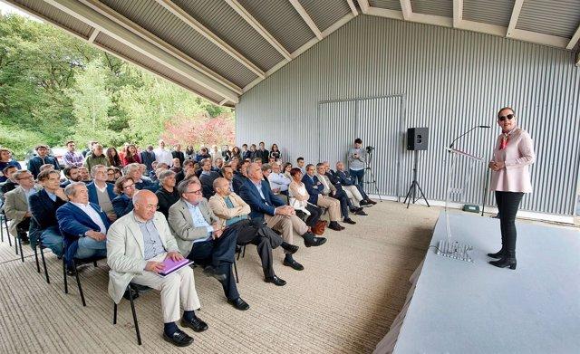 La presidenta Barkos durante su intervención