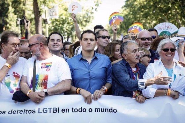 Albert Rivera en la manifestación del WorldPride Madrid 2017