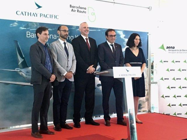 Inauguración del vuelo Barcelona-Hong Kong de Cathay Pacific
