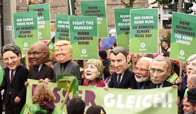 Protesta Oxfam en Hamburgo