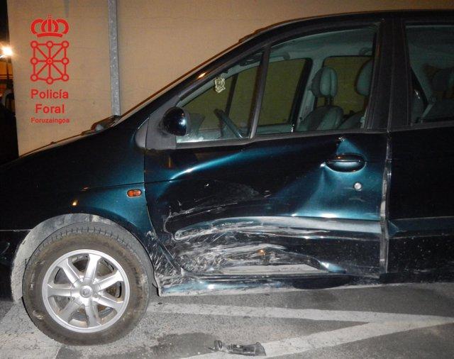 Daños del vehículo implicado en el accidente de Castejón
