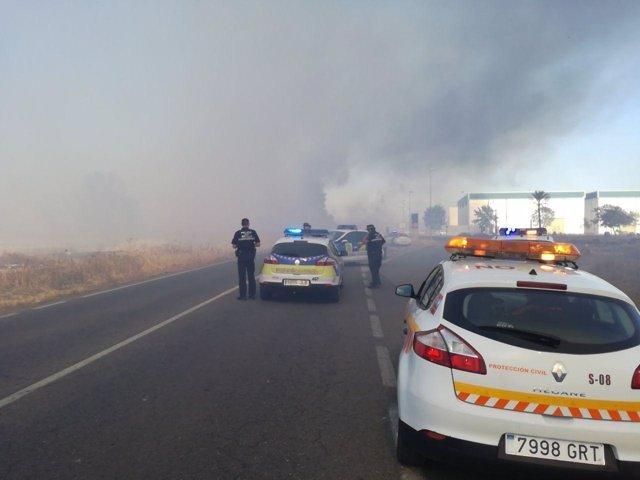 Incendio junto al barrio de San Rafael de Torreblanca, en Sevilla