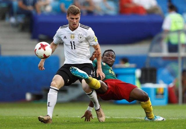 Timo Werner con la selección alemana en la Confederaciones
