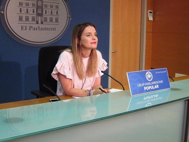 La portavoz del PP, Margalida Prohens, en el Parlament