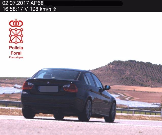 Sanción por circular a 198 km/h.