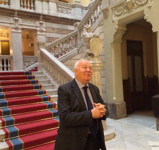 Miguel Ángel Moratinos, durante su visita a Asturias.
