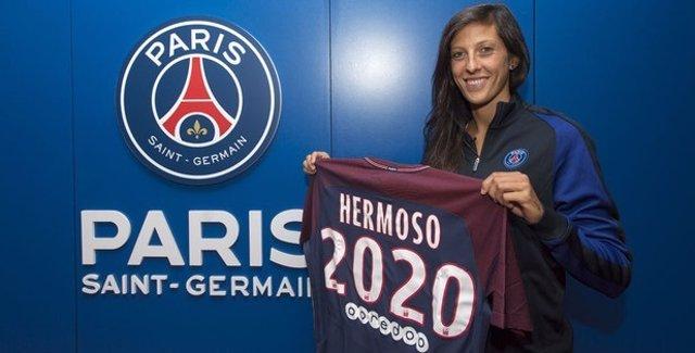 Jenni Hermoso posa con su nueva camiseta del PSG
