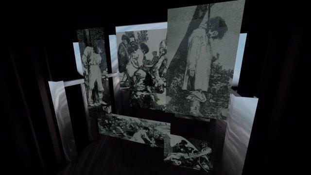 Boceto virtual de la escenografía de 'Il trovatore'