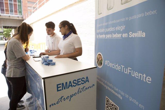 Punto de votación de las futuras fuentes para beber que se instalarán en Sevilla