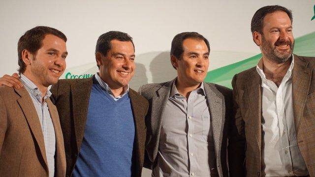 Fernando Priego, Juanma Moreno, José Antonio Nieto y Adolfo Molina en marzo
