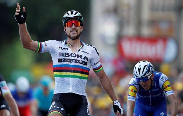 Peter Sagan celebra su victoria
