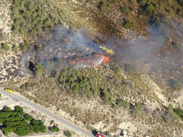 Imagen tomada por Técnico de Extinción en helicóptero de La Pila