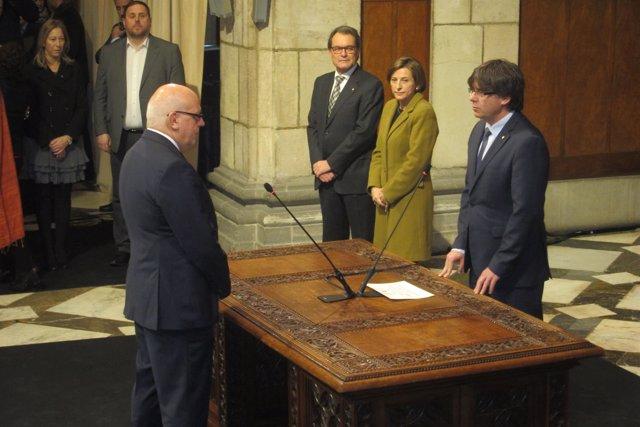 Jordi Baiget jura como conseller. C.Puigdemont,C.Forcadell,Artur Mas,O.Junqueras