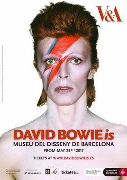 Cartel exposición David Bowie en Barcelona