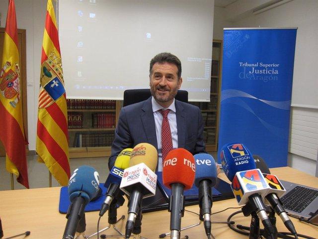 El presidente del TSJA, Manuel Bellido, este martes en rueda de prensa