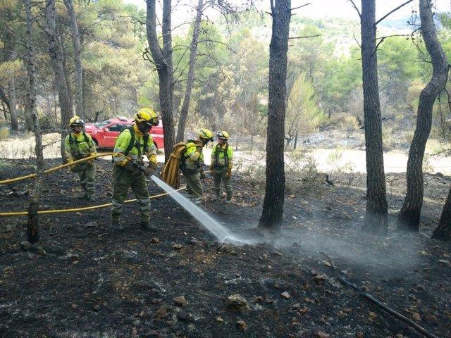 Los bomberos de Castellón trabajan en refrescar la zona calcinada