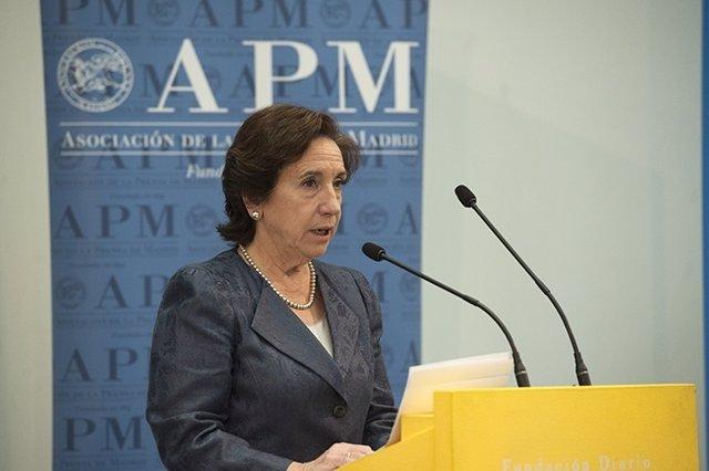Victoria Prego durante un acto de la APM por el Día de los Periodistas