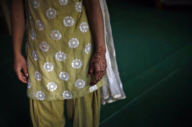 Una niña india en Nueva Delhi