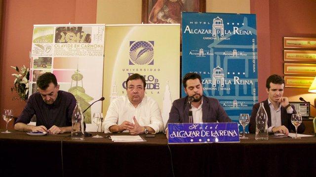 Maíllo, Fernández Vara, De Páramo y Casado, en un curso de verano de la UPO