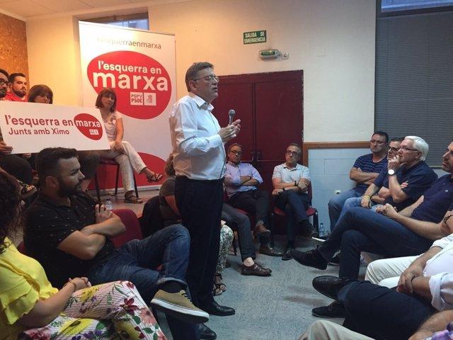 Puig, durante un acto de su candidatura en Alzira (Valencia)