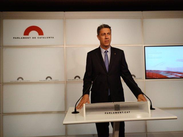 El líder del PP catalán, Xavier García Albiol, en rueda de prensa