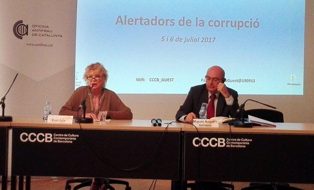 Miguel Àngel Gimeno (Antifrau) i l'eurodiputada Eva Joly