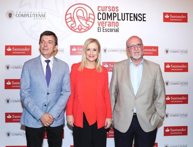 Cristina Cifuentes con el rector de la UCM y el secretario general de UGT Madrid