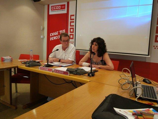 Cedrún y González, en la presentació de la guía LGTBI de CCOO