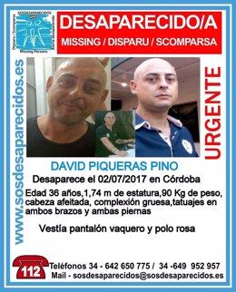 Imagen y datos de David Piqueras en el Twitter de SOS Desaparecidos