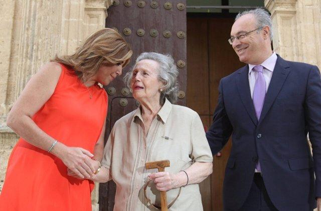 Susana Díaz, María Angeles Infante y Juan Pablo Durán, este miércoles