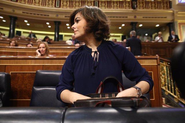 Soraya Sáenz de Santamaría en el debate de la moción de censura contra Rajoy