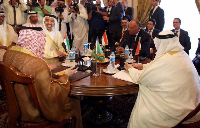 Ministros de Exteriores de Arabia Saudí, Egipto, Emiratos y Bahréin
