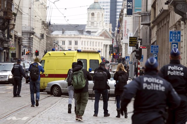 Furgón de la Policía en Bruselas