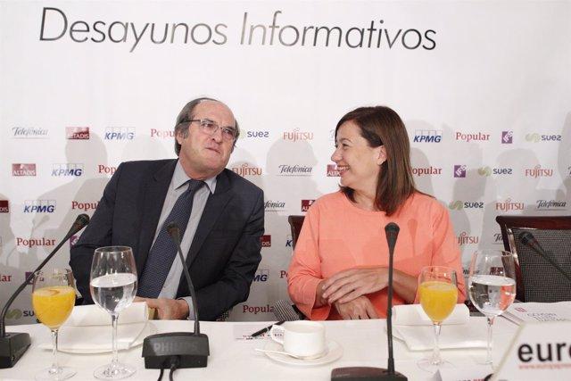 Ángel Gabilondo y Francina Armengol en un desayuno informativo de Europa Press