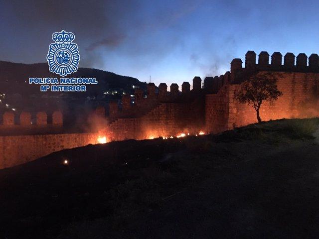 Incendio que afectó a la alcazaba de Antequera