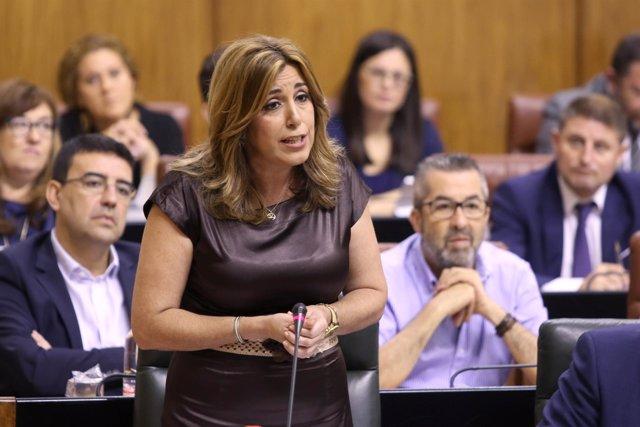 La presidenta de la Junta, Susana Díaz, en el Pleno del Parlamento andaluz