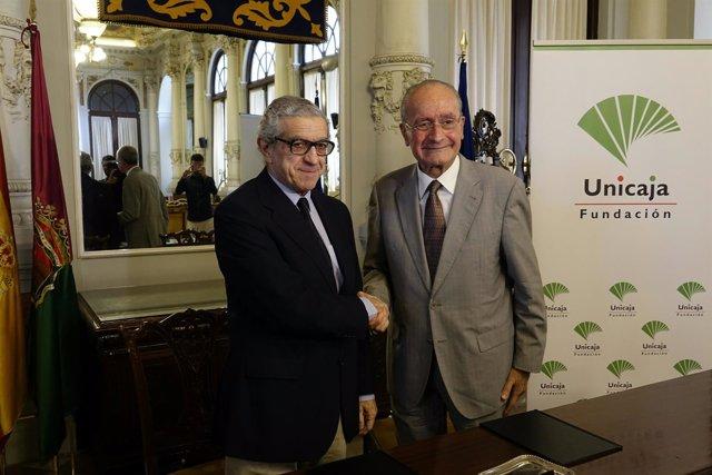 Fundación Unicaja Braulio Medel y alcalde de Málaga Francisco de la Torre