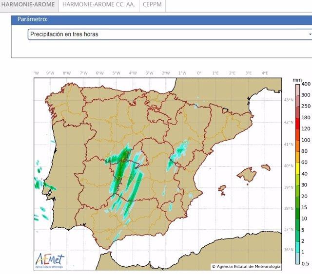 Mapa de predicción de precipitaciones con 'Harmonie-Arome'
