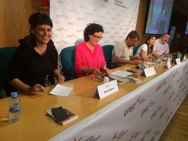Debat A.Gabriel (CUP) M.Rovira (ERC) X.Domènech (Catcomú) i N.Parlon (PSC)