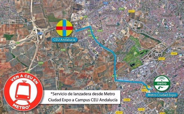 Mapa del servicio de lanzadera con el metro