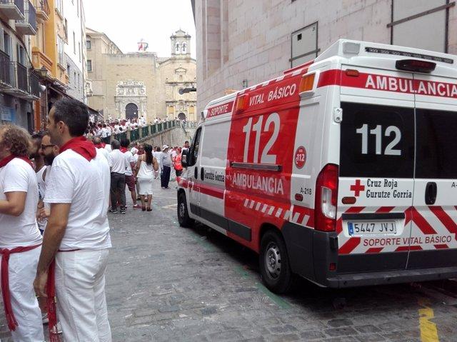 Dispositivo de Cruz Roja en la Cuesta de Santo Domingo