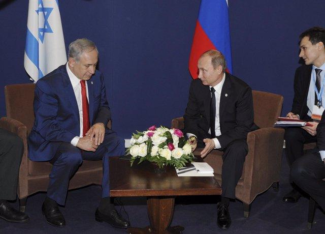 Benjamin Netanyahu y Vladimir Putin