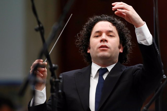 FILE PHOTO: Venezuela's classical music superstar Gustavo Dudamel conducts a con